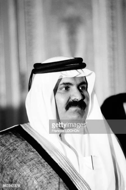 Cheikh Hamad ben Khalifa Al Thani, prince héritier et ministre de la Défense du Qatar, le 15 juin 1987 à Paris, France.