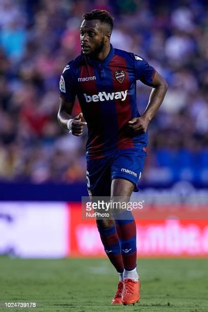 Cheikh Ives Doukoure of Levante UD runs during the La Liga match between Levante and Celta de Vigo at Ciutat de Valencia on August 27 2018 in...