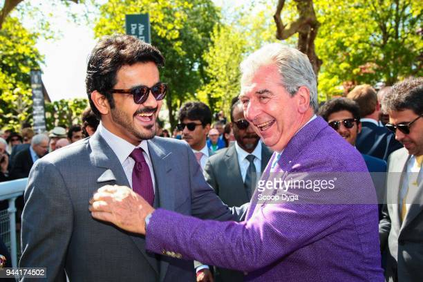 Cheikh Joaan Bin Hamad Al Thani and Jean Claude Rouget during the Abu Dhabi Poule des Poulains at Deauville on May 14th 2017 in Deauville France