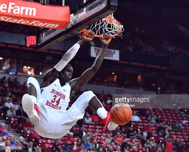 Cheikh Mbacke Diong of the UNLV Rebels dunks against the Loyola Marymount Lions during their game at the Thomas Mack Center on November 10 2018 in...