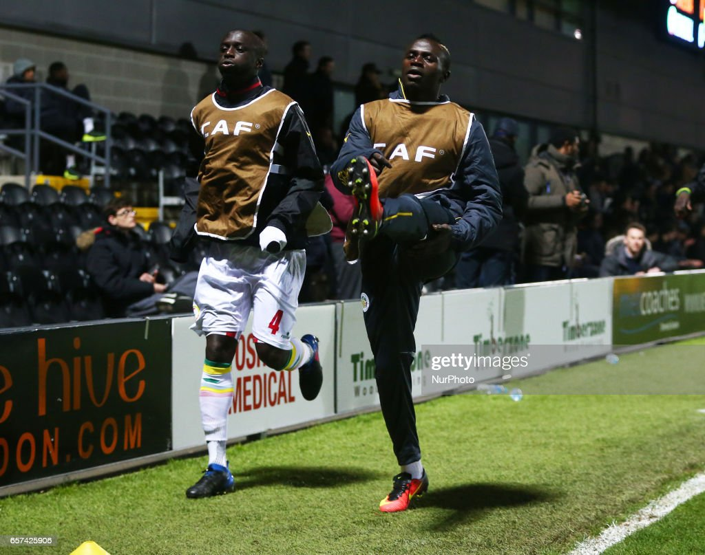L-R Cheikh M'Bengue of Senegal and Sadio Mane of Senegal during the pre-match warm-up during International Friendly match between Nigeria against Senegal at The Hive, Barnet FC on 23rd March 2017