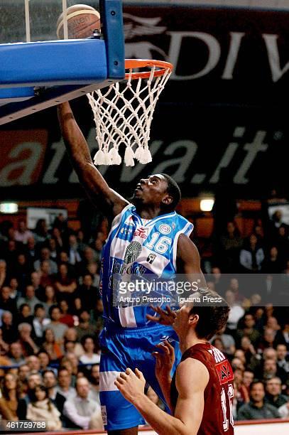 Cheikh Mbodj of Banco di Sardegna competes with Benjamin Ortner of Umana during the Lega Basket serie A1 match between Umana Reyer Venezia and Banco...