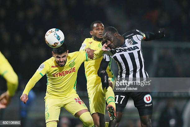 Cheikh Ndoye of Angers and Lucas Alves de Lima of Nantes during the French Ligue 1 match between Angers and Nantes on December 16 2016 in Angers...