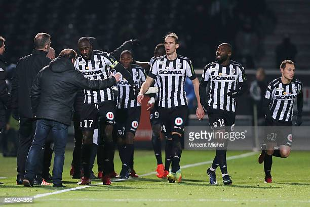 Cheikh Ndoye of Angers celebrates with teammates the second goal during the Ligue 1 match between Angers SCO and FC Lorient on December 3 2016 in...