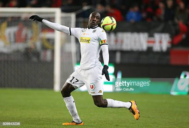 Cheikh N'Doye of Angers in action during the French Ligue 1 match between Stade Rennais FC and SCO Angers at Roazhon Park stadium on February 12 2016...