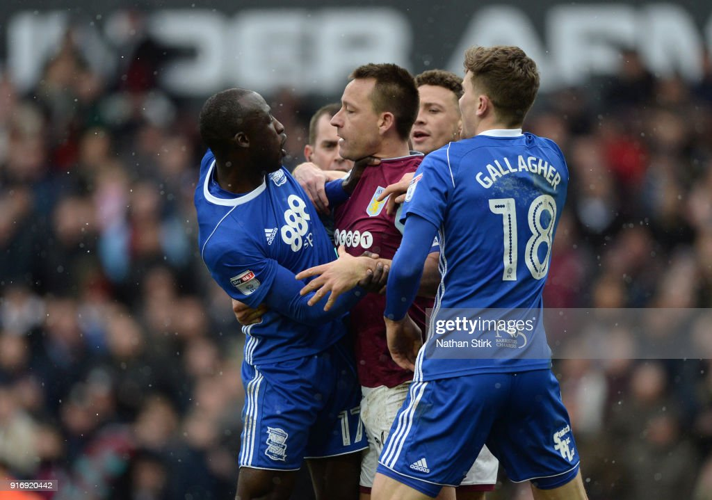 Cheikh Ndoye of Birmingham grabs John Terry of Aston Villa by the throat during the Sky Bet Championship match between Aston Villa and Birmingham City at Villa Park on February 11, 2018 in Birmingham, England.