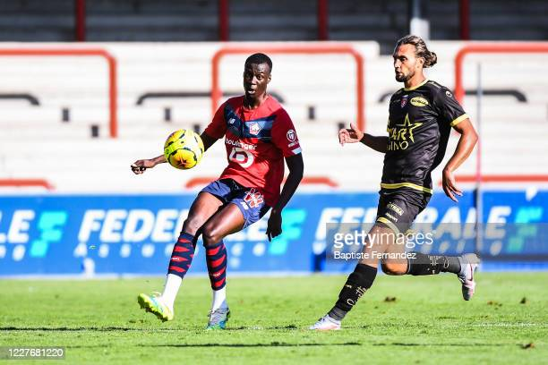 Cheikh NIASSE of Lille during the Friendly match between Lyon and Mouscron on July 18 2020 in Mouscron Belgium