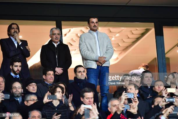 Cheikh Tamin Ben Hamad Al Thani the Emir of Qatar during the UEFA Champions League Round of 16 second leg match between Paris Saint Germain and Real...