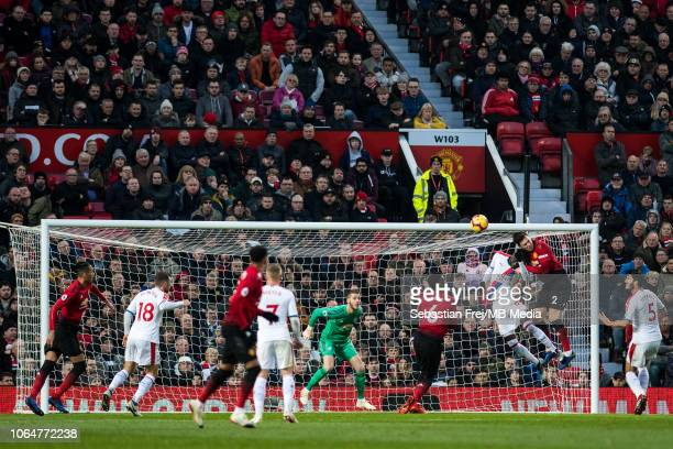 Cheikhou Kouyaté of Crystal Palace scoring disallowed goal during the Premier League match between Manchester United and Crystal Palace at Old...
