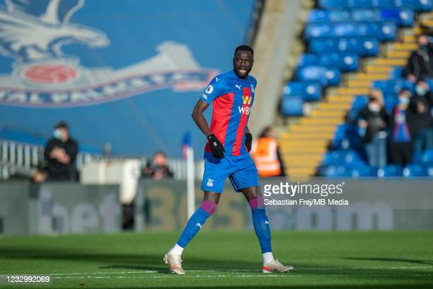 Cheikhou Kouyate of Crystal Palace during the Premier League match between Crystal Palace and Arsenal at Selhurst Park on May 19, 2021 in London,...