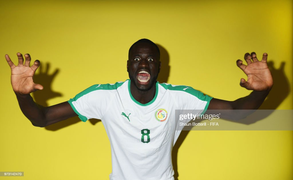 Cheikhou Kouyate of Senrgal poses for a portrait during the official FIFA World Cup 2018 portrait session at the team hotel on June 13, 2018 in Kaluga, Russia.