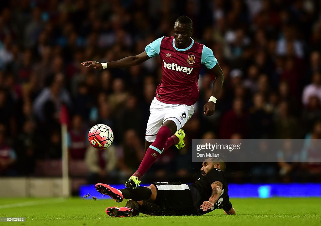 Cheikhou Kouyate of West Ham takes on Junior Morais of Astra Giurgiu during the UEFA Europa League third qualifying round match between West Ham United and Astra Giurgiu at the Boleyn Ground on July 30, 2015 in London, England.