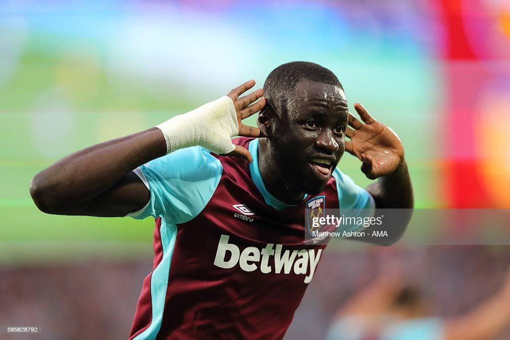 Cheikhou Kouyate of West Ham United celebrates after scoring a goal to make it 2-0 during the UEFA Europa League Third Qualifying Round Second Leg between West Ham United and NK Domzale at London Stadium on August 4, 2016 in Stratford, England.