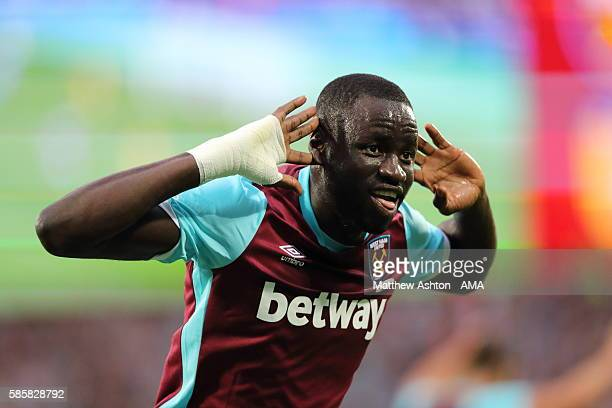 Cheikhou Kouyate of West Ham United celebrates after scoring a goal to make it 20 during the UEFA Europa League Third Qualifying Round Second Leg...