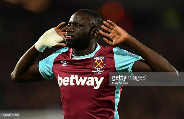 Cheikhou Kouyate of West Ham United celebrates scoring his sides first goal during the EFL Cup fourth round match between West Ham United and Chelsea...