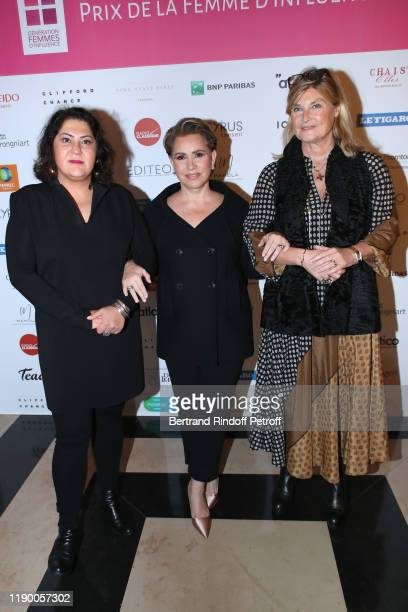 Chekeba Hachemi Grand Duchess Maria Teresa of Luxembourg and a guest attend the Prix de la Femme d'Influence de l'Annee at Palais Brongniart on...