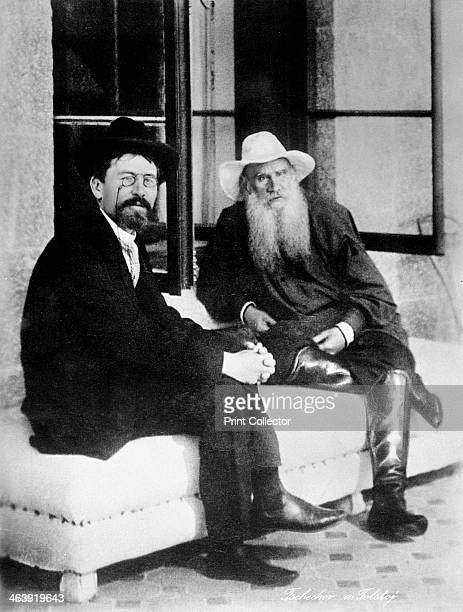 Chekhov and Tolstoy late 19th century Anton Chekhov Russian writer left with Leo Tolstoy Russian writer philosopher and mystic