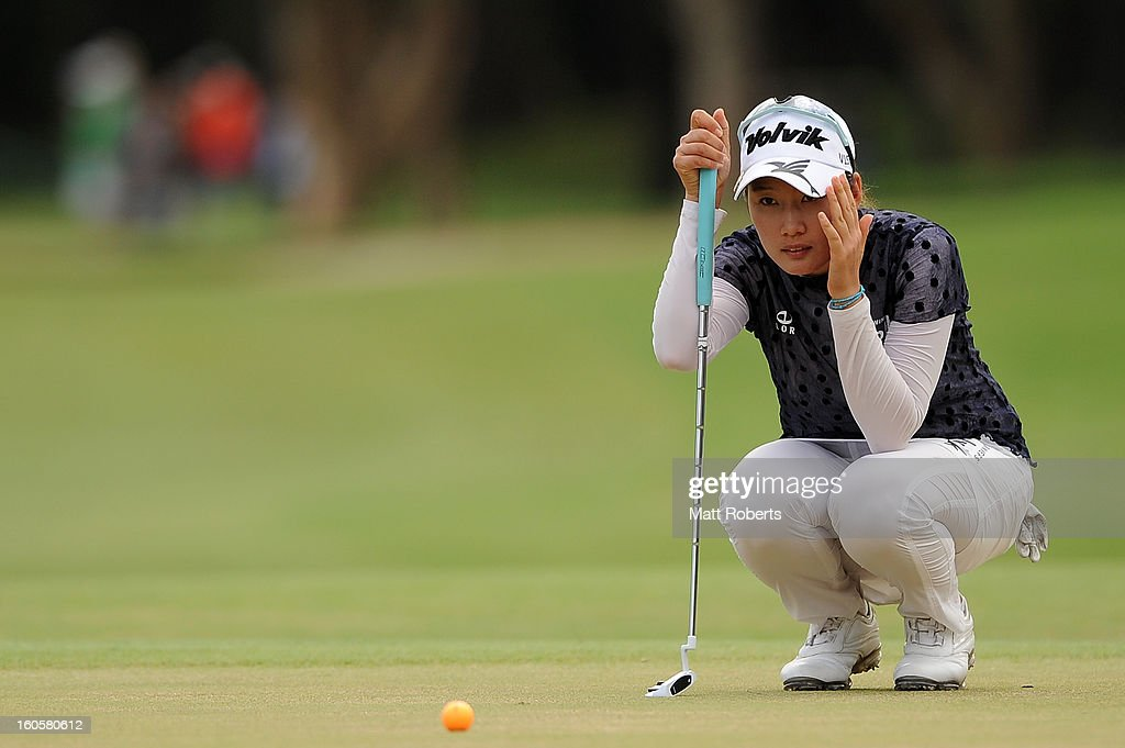 Chella Choi of South Korea lines up her putt on the 18th hole during the Australian Ladies Masters at Royal Pines Resort on February 3, 2013 on the Gold Coast, Australia.