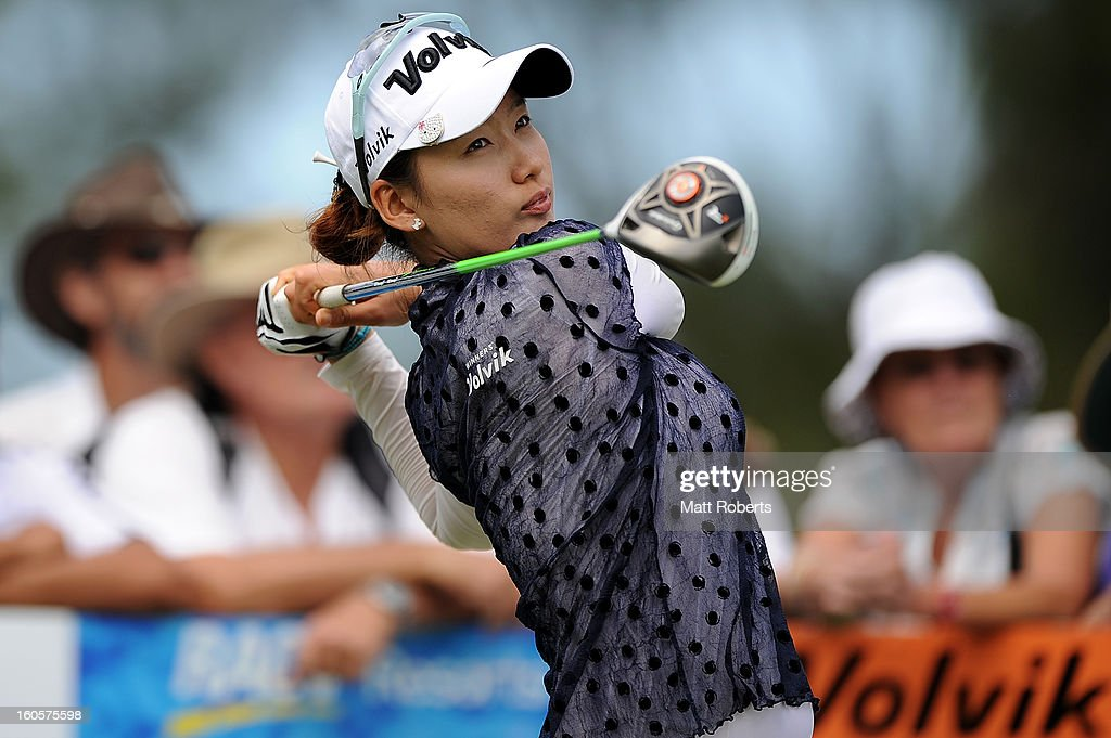 Chella Choi of South Korea plays her tee shot on the 9th hole during the Australian Ladies Masters at Royal Pines Resort on February 3, 2013 on the Gold Coast, Australia.