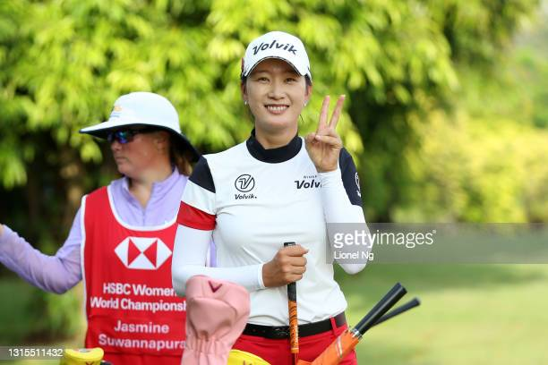 Chella Choi of South Korea poses on the 3rd tee during the third round of the HSBC Women's World Championship at Sentosa Golf Club on May 1, 2021 in...