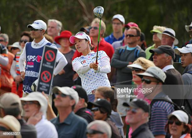 Chella Choi of South Korea tees off during the fourth round of the ISPS Handa Women's Australian Open at The Victoria Golf Club on February 16, 2014...