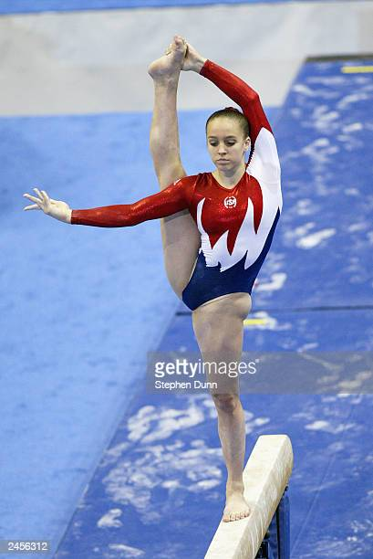 Chellsie Memmel of the United States competes in the women's balance beam during the Apparatus Finals of the 2003 World Gymnastics Championships at...