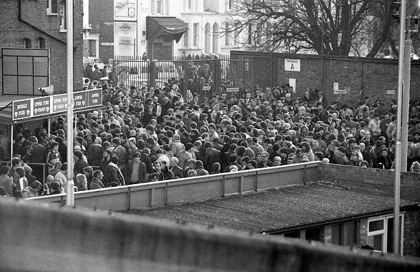Chelsea 0 v Fulham 0 Fans gather at the main entrance before the game