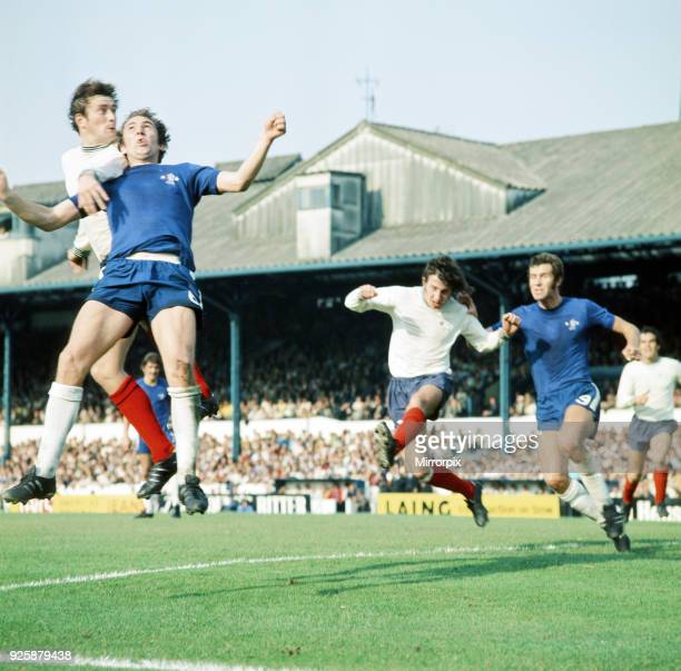 Chelsea 1 v Derby County 1, League Division One. Left to right, John O'Hare , Marvin Hinton , Roy McFarland , Peter Osgood . Stamford Bridge, 18th...