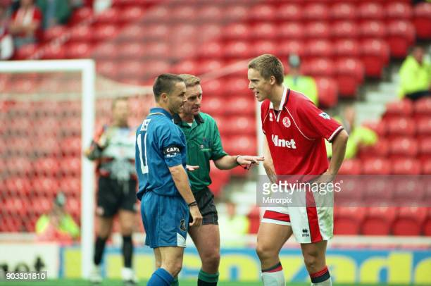 Chelsea 2 0 Middlesbrough Premier League match held at the Cellnet Stadium JanAage Fjortoft and Dennis Wise 26th August 1995
