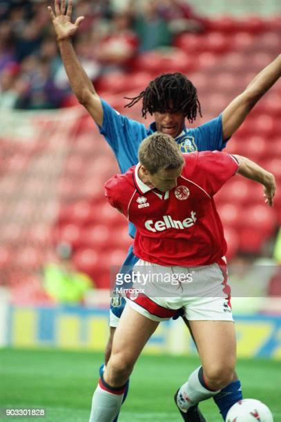 Chelsea 2 0 Middlesbrough Premier League match held at the Cellnet Stadium Ruud Gullit and JanAage Fjortoft 26th August 1995