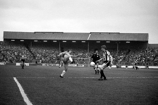 Chelsea 2 v Newcastle United 1. Chelsea's Ian Britton in action with The Shed end in the background.