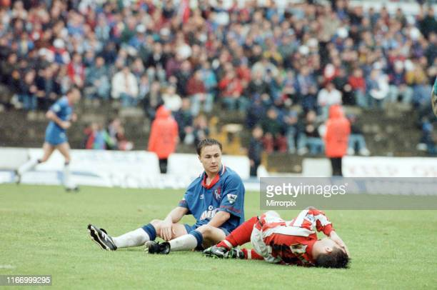Chelsea 32 Sheffield United Premier league match at Stamford Bridge Saturday 7th May 1994 Dennis Wise on ground after being fouled