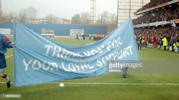 Chelsea 32 Sheffield United Premier league match at Stamford Bridge Saturday 7th May 1994 Chelsea FC banner with message to fans Thank You For Your...