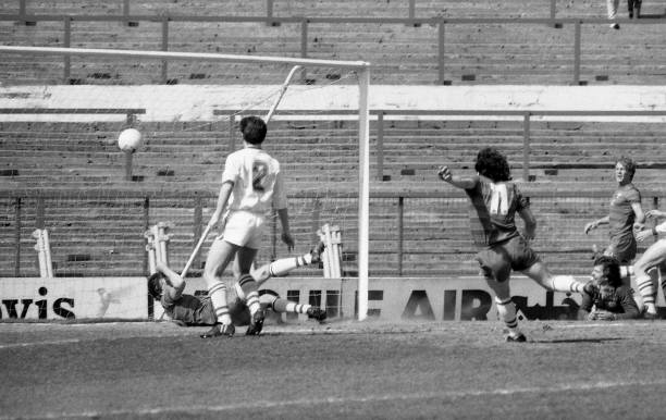 Chelsea 5 v Leeds United 0. Action of Chelsea FC player Mickey Thomas.