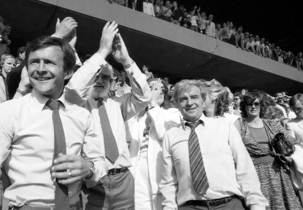 Chelsea 5 v Leeds United 0. Chelsea Coach John Hollins post-match, Chairman Ken Bates and Manager John Neal celebrate post-match.