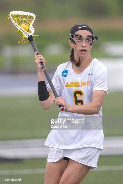 Chelsea Abreu of the Adelphi Panthers looks for an open teammate during the 2019 Division II Women's Lacrosse Championship held at the GVSU Lacrosse...
