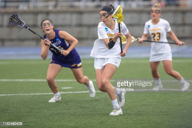 Chelsea Abreu of the Adelphi Panthers runs upfield during the 2019 Division II Women's Lacrosse Championship held at the GVSU Lacrosse Stadium on May...