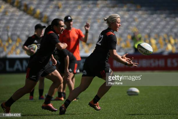 Chelsea Alley of New Zealand in action during the New Zealand Black Ferns captain's run at Optus Stadium on August 09 2019 in Perth Australia