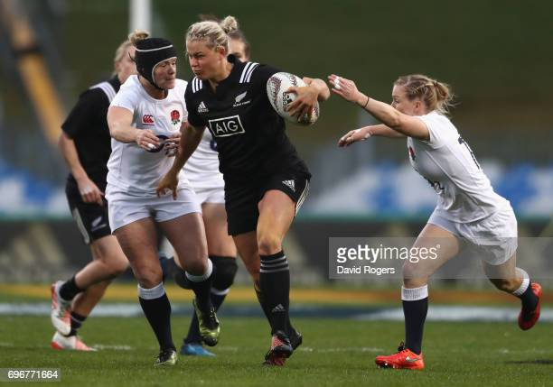 Chelsea Alley of New Zealand is tackled during the International Test match between the New Zealand Black Ferns and the England Roses at Rotorua...