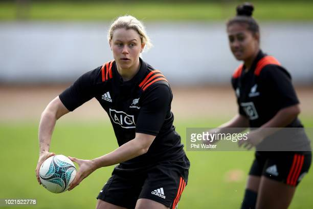 Chelsea Alley of the Black Ferns passes during a New Zealand Black Ferns training session at Ponsonby Rugby Club on August 23 2018 in Auckland New...
