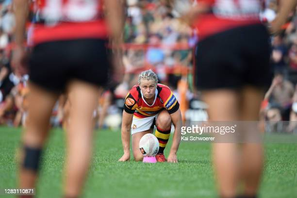 Chelsea Alley of Waikato looks to kick a conversion during the Farah Palmer Cup Final between Canterbury and Waikato at Rugby Park on October 31,...