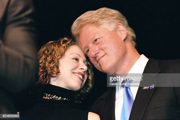 Chelsea and Bill Clinton during Hillary Clinton's 53rd birthday celebration at the Rosebud Club in New York City on October 25 2000