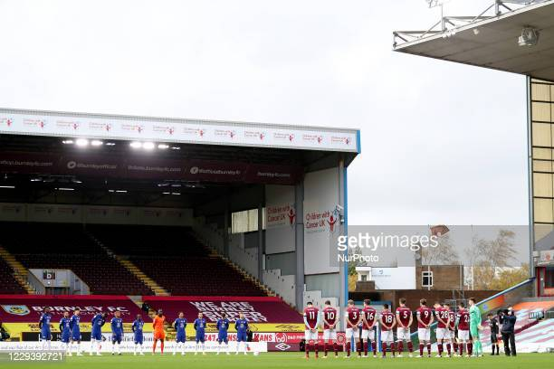 Chelsea and Burnley players stand for a minutes silence in support of Armistice day during the Premier League match between Burnley and Chelsea at...