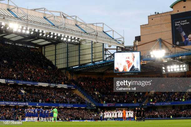 Chelsea and Crystal Palace players observe a minute silence in memory of Leicester City Chairman Vichai Srivaddhanaprabha prior to the Premier League...