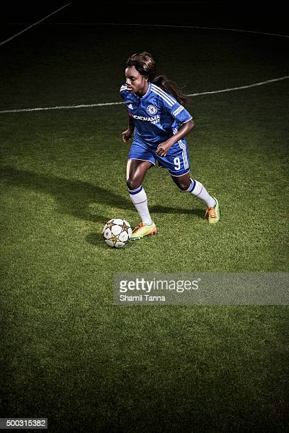 Chelsea and England footballer Eniola Aluko is photographed for the Guardian on July 21 2015 in London England