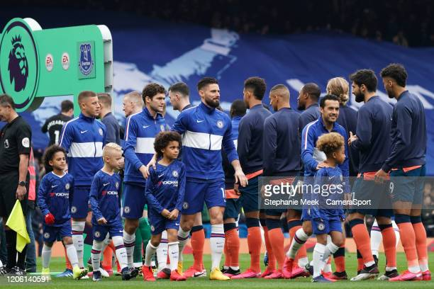 Chelsea and Everton replace the usual shaking of hands with nods as a precaution against Coronavirus during the Premier League match between Chelsea...