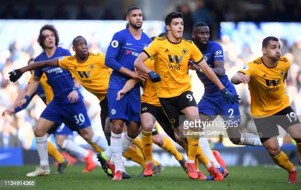 Chelsea and Wolverhampton Wanderers players watch the ball during the Premier League match between Chelsea FC and Wolverhampton Wanderers at Stamford...