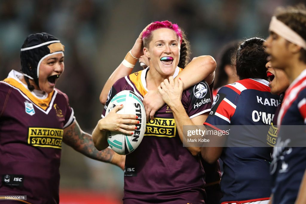 Chelsea Baker of the Broncos celebrates with her team mates after victory during the round two Women's NRL match between the Sydney Roosters and the Brisbane Broncos at Allianz Stadium on September 14, 2018 in Sydney, Australia.