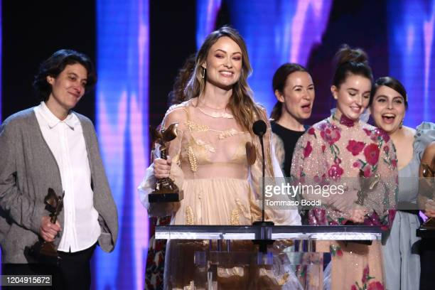 Chelsea Barnard, Olivia Wilde, Katie Silberman, Kaitlyn Dever, and Beanie Feldstein accept the Best First Feature award for 'Booksmart' onstage...