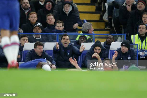 Chelsea bench appeal but VAR rules out a red card for Harry Maguire of Manchester United after he catches Michy Batshuayi of Chelsea during the...